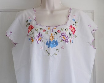Handmade Vintage Smock Blouse Tunic Shift Shirt With Floral Embroidery