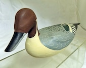 Hand Carved and Painted Wooden Redhead Duck Decoy Signed Peggy