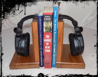 Headphone Bookends Made from Real Headphones and Walnut Wood