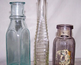 Antique Sauce Food Bottles Pickle Amethyst Mustard Ribbed Pepper Sauce 1880-1910