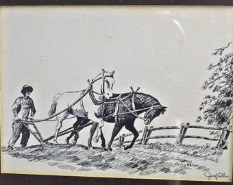 Framed Original INK Drawing by Jerry Miller Farmer Plowing North Carolina Artist Signed NOT A PRINT