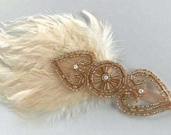 Champagne Bridal Headband, Feather Fascinator, Wedding Accessory, Bridesmaid Headpiece, Wedding Fascinator, Gatsby Headband, 1920s Headpiece