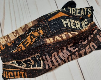 Cloth face mask - reversible with ties in Halloween Signs