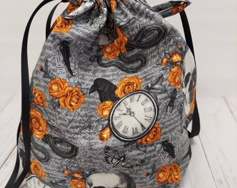 Halloween Ravens and Skulls Single Sack Project Bags in two sizes - Reversible