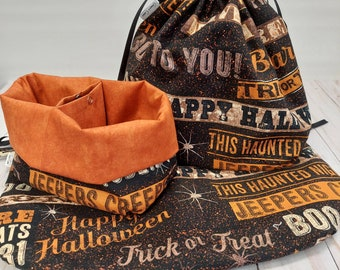 Halloween Signs Double Sack Divided Project Bag with pocket, Available in four sizes