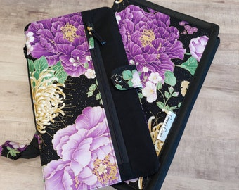 Deluxe knitting needle case for circulars, interchangeable tips, and short dpns in Classic Purple and black Asian Floral