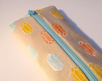 Gems Pencil Case Handprinted Fabric