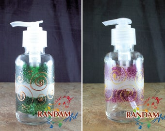 Soap or Lotion Dispenser. Recycled 3.4oz Apothecary Round Glass Bottle with Clear Pump