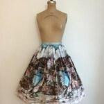 1950s Vintage Tristans Castle Scenic Border Skirt 50's Millworth Novelty Print Skirt