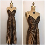 Vintage 1980s Travilla Style Metallic Evening Gown 80s Vanna White Maxi Dress