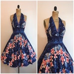 1950s Kamehameha Orchid Dress 50s Hawaiian Dress Halter Sundress