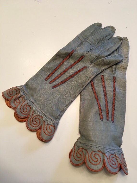 Vintage 1920s Embroidered Leather Gloves 20s Deco