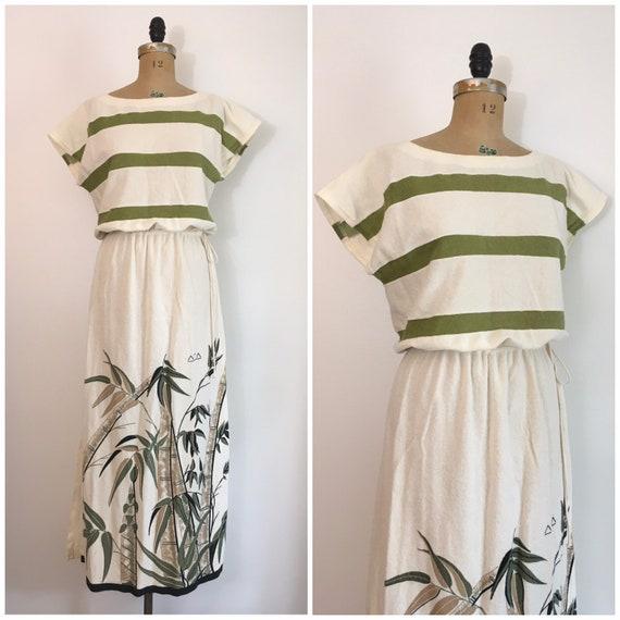 Vintage 1970s Terry Cloth Maxi Dress 70s Bamboo Bo