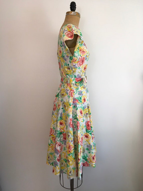 Vintage 1980s Milanzo Floral Garden Party Dress 8… - image 4