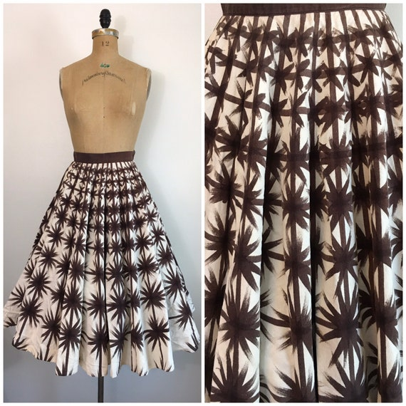 Vintage 1950s Painted Mexican Skirt 50s Stars Circ