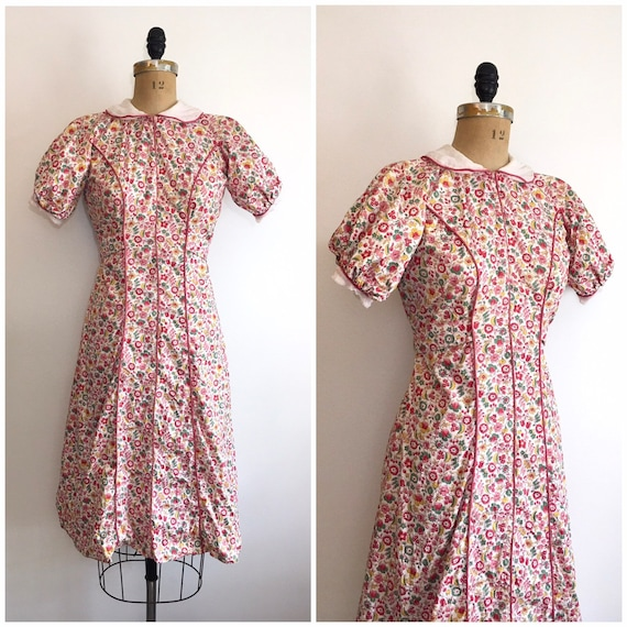 1930s Cotton Pink Floral Dress 30s Floral House Dr