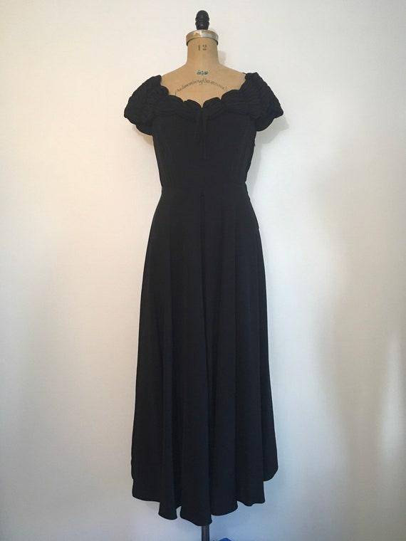 1940s Black Party Evening Dress 40s Capri Gown - image 2