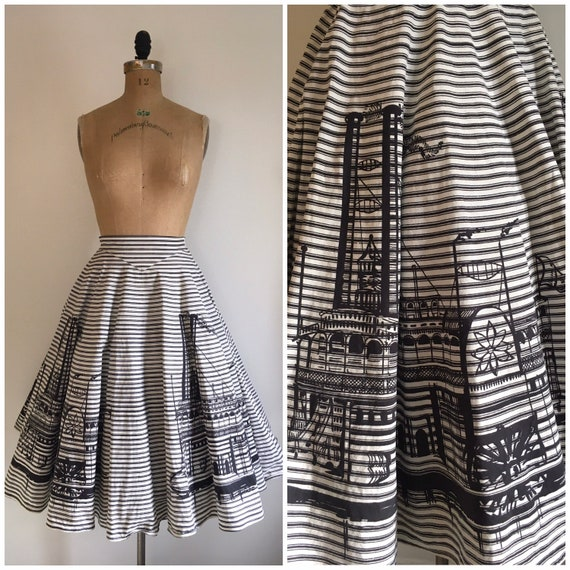 Vintage 1950s River Boat Circle Skirt 50s Border N