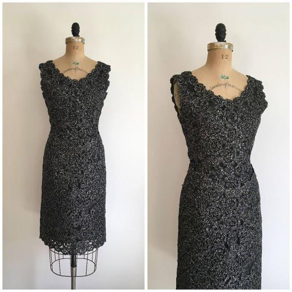 1950s 1960s Raffia Wiggle Dress Black and Silver 5