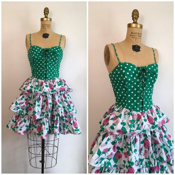 Vintage 1980s Rose Print Ruffle Party Dress 80s Fl