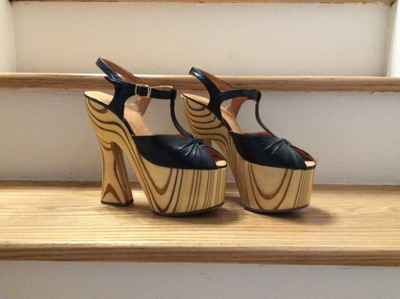 Vintage 1960s 1970s Wooden Platforms 60s 70s Lady