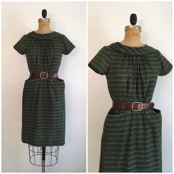 Vintage 1950s Green Cotton Wiggle Dress 50s Pocket