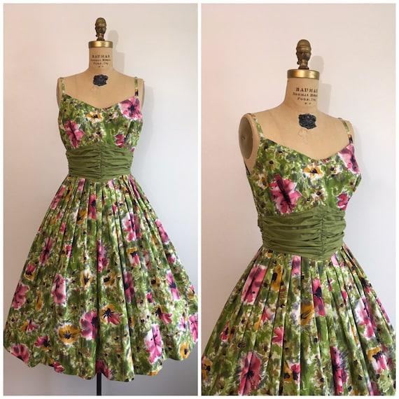 1950s Floral Poppies Sundress 50s Vintage Cotton D