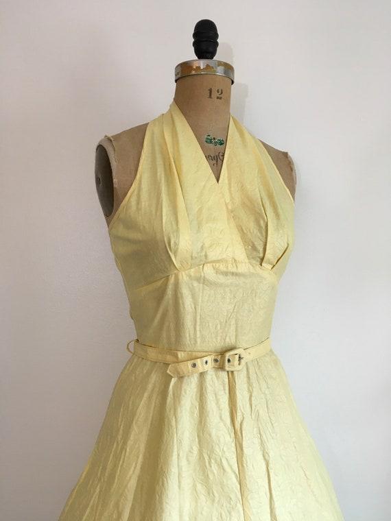 Vintage 1950s Seafoam Halter Dress 50s Sundress - image 3