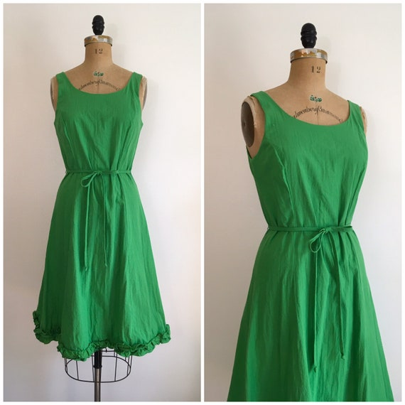 Vintage 1970s 1980s Serbin Green Ruffle Sundress 7