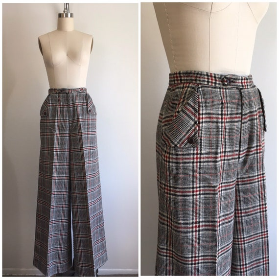 1970s Tweed High Waisted Pants 70s Wide Leg