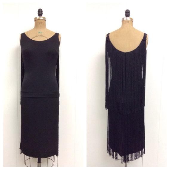 1950s Black Fringe Dress 50s Sydney North