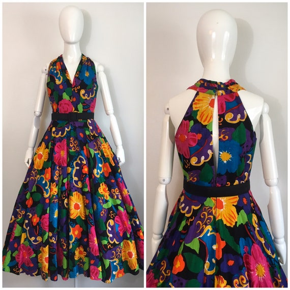 Vintage 1980s Lillie Rubin Floral Party Dress 80s