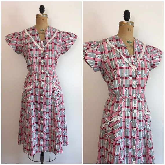 Vintage 1930s 1940s Cherry Print House Dress 30s 4