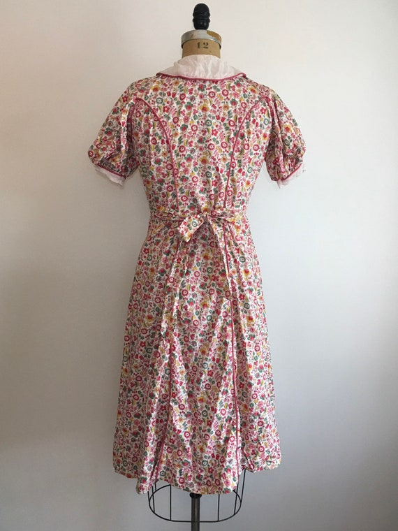 1930s Cotton Pink Floral Dress 30s Floral House D… - image 5