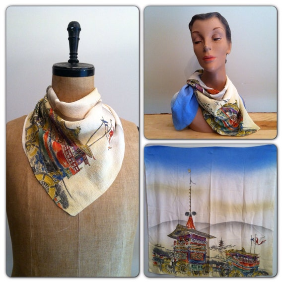1930s 1940s Asian Painted Scarf 30s 40s