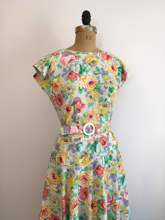 Vintage 1980s Milanzo Floral Garden Party Dress 8… - image 3