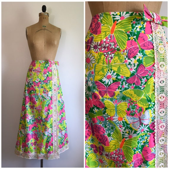 Vintage 1960s Lilly Pulitzer Maxi Skirt 60s Butter
