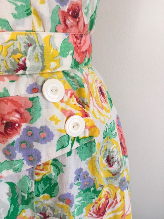 Vintage 1980s Milanzo Floral Garden Party Dress 8… - image 8