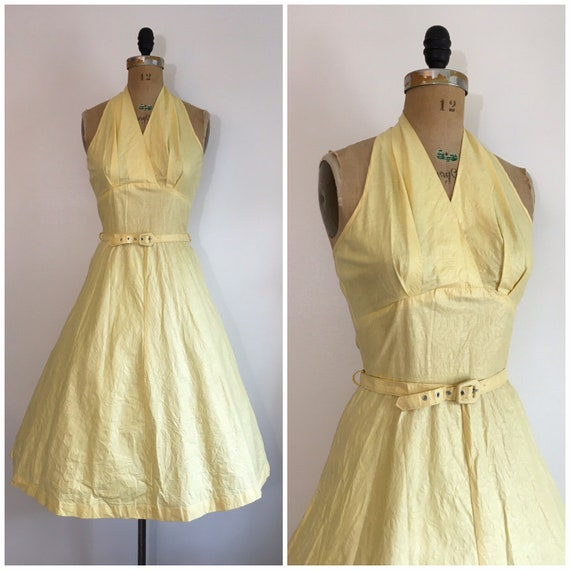 Vintage 1950s Seafoam Halter Dress 50s Sundress