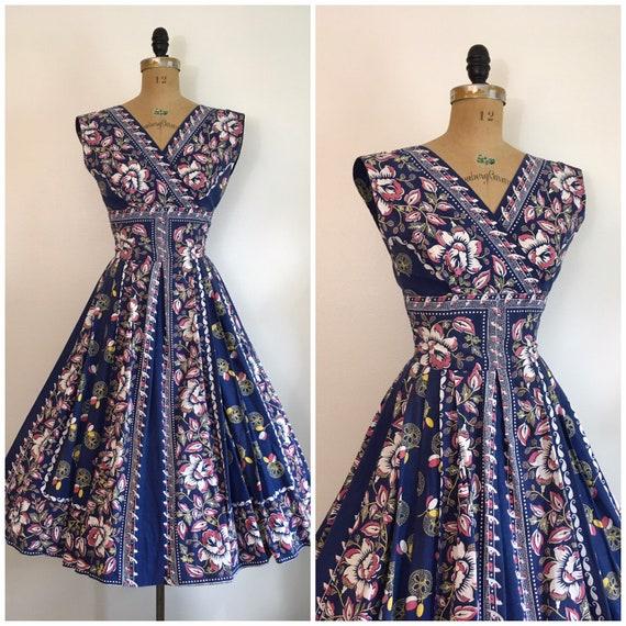 Vintage 1950's Rose Border Print Floral Dress 50's