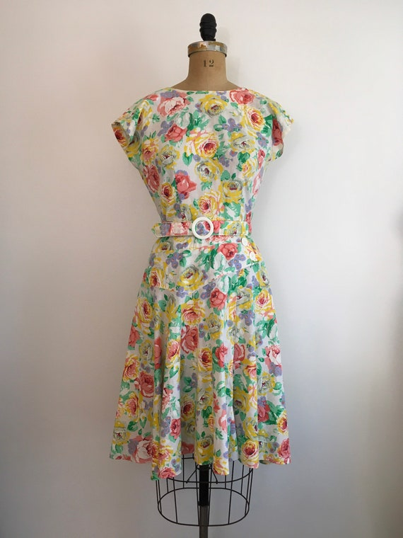 Vintage 1980s Milanzo Floral Garden Party Dress 8… - image 2