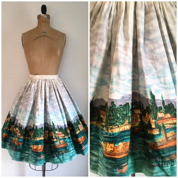 Vintage 1950s Scenic Novelty Print Border Skirt 50