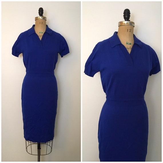 Vintage 1950s 1960s Winklemans Knit Sweater Dress