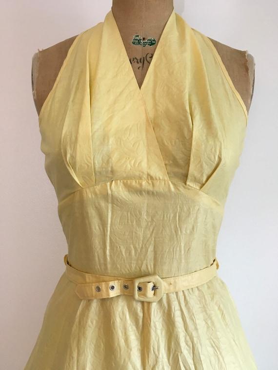 Vintage 1950s Seafoam Halter Dress 50s Sundress - image 4