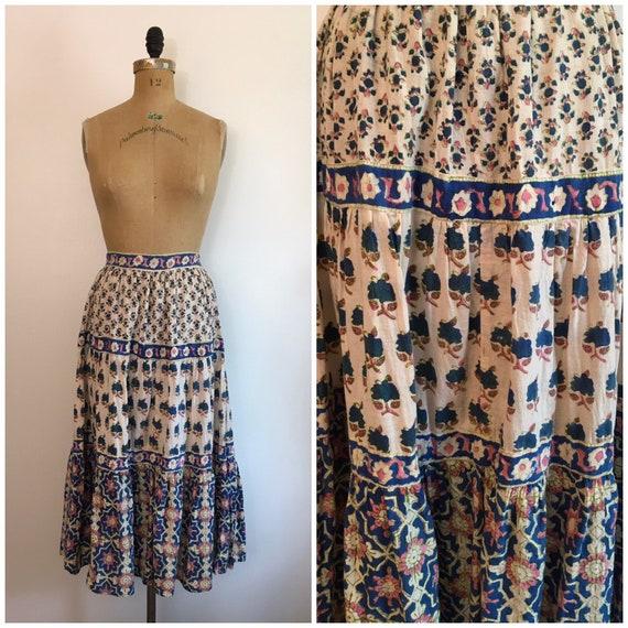 Vintage 1970s Phool Block Print Skirt 70s Made In
