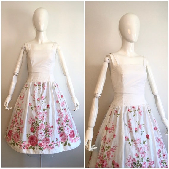 Vintage 1950s 1960s Border Print Rose Dress 50s 60