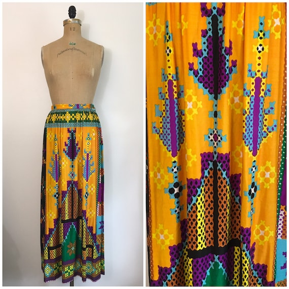 Vintage 1970s Nelly de Grab Rainbow Maxi Skirt 70s