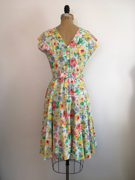 Vintage 1980s Milanzo Floral Garden Party Dress 8… - image 5
