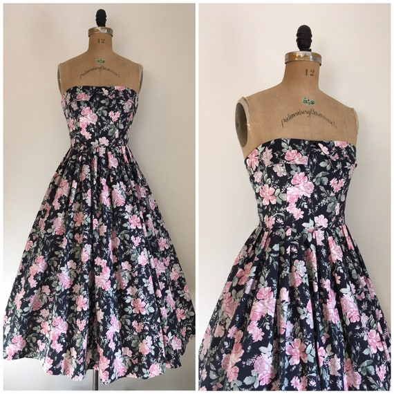Vintage 1980s Laura Ashley Strapless Floral Butter