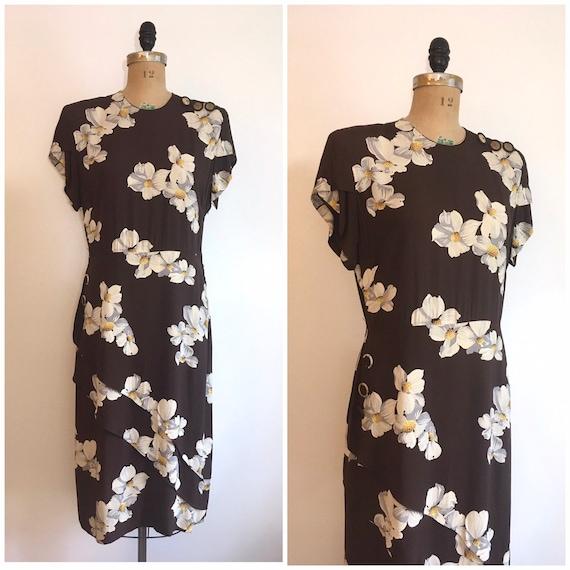 Vintage 1940s Floral Rayon Dress 40s Brown Flower